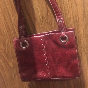 Red Snakeskin pleather purse